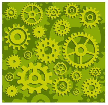cogs: Vector attrezzi di fondo in verde, tecnici, illustrazione modellismo meccanico
