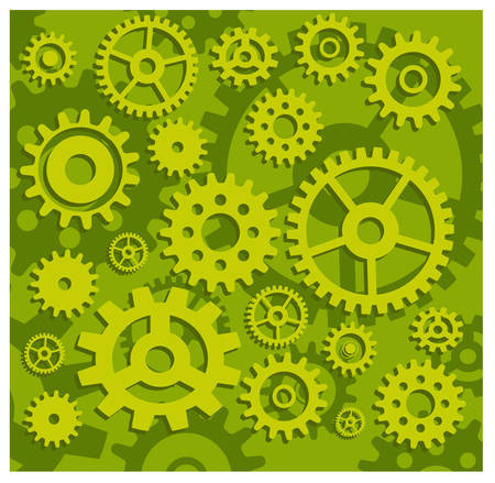 Vector gears background in green, technical, mechanical illustration pattern Illustration