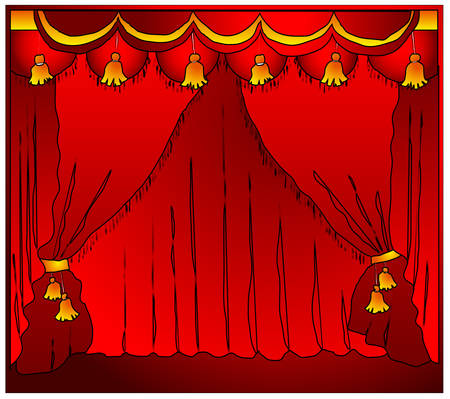 Fashioned theater stage with velvet curtains, vector illustration Vector