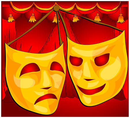 theater man: Classic comedy-tragedy theater masks against red curtain fabric