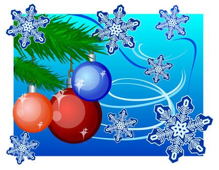 New Year's toys on fir, winter landscape, vector an illustration Stock Vector - 4581146