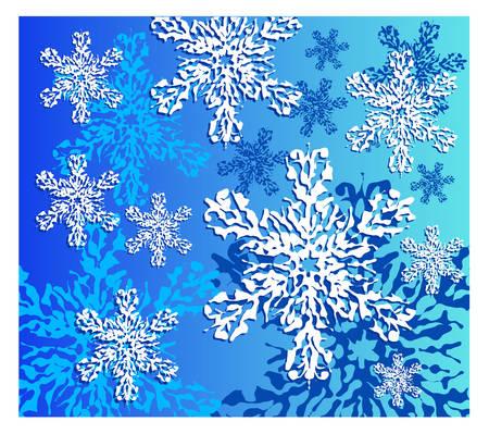 snowfalls: Winter snowflake in details, snow background, vector illustration Illustration