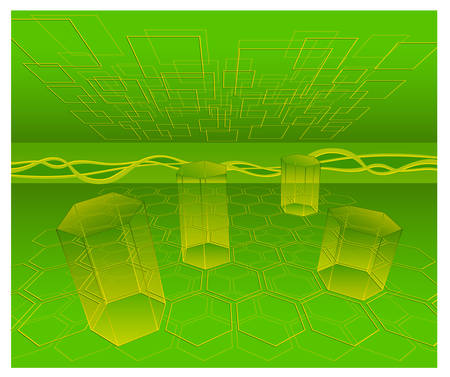 computation: Mathematical figures on green background, transparent prism, cone, honeycombs, illustration  Illustration