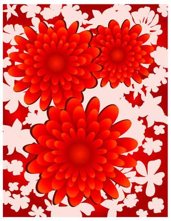 Floral background, red flowers on white, element for design, vector illustration Vector