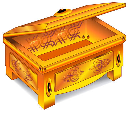 safety box: Isolated antique wooden chest inlaid with gold on white background, vector illustration