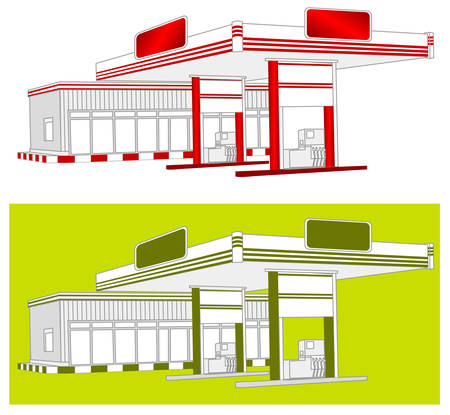 tree service business: Illustration of red gas refuel station with small shop office