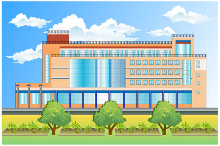Conceptual image of office building, vector illustration Stock Vector - 4581145