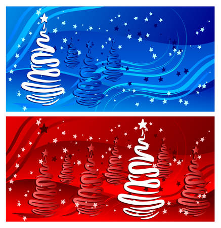 Beautiful winter background in blue and red color, vector illustration Vector