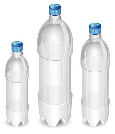 mineralien: Kunststoff-Flaschen Mineralwasser isoliert auf wei�em Hintergrund, Vektor-Illustration
