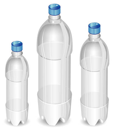 Plastic bottles of mineral water isolated on white background, vector illustration Vector