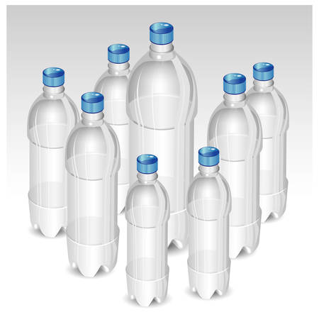 mineral water bottles: Plastic bottles of mineral water isolated on white background, vector illustration Illustration