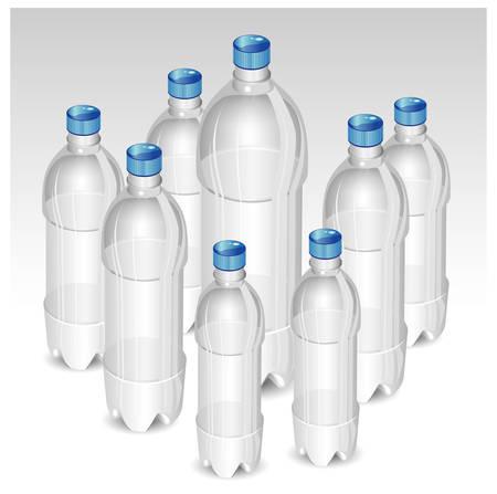 Plastic bottles of mineral water isolated on white background, vector illustration Illustration