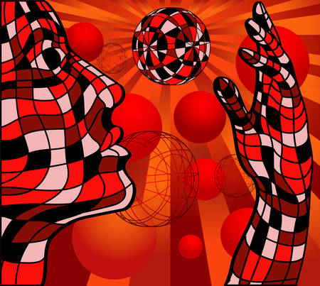 Face and hand with sphere isolated over abstract red background Vector