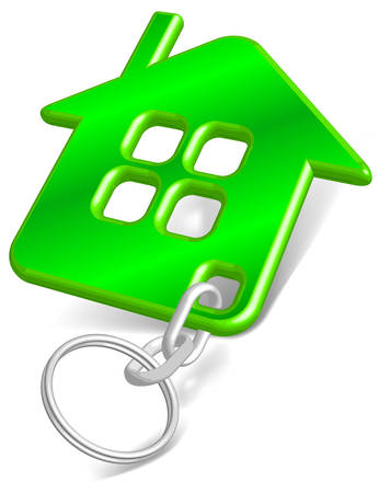 keys isolated: Abalorio vector con la casa verde silueta aislados sobre fondo blanco