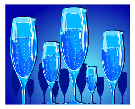 Vector holiday illustration with champagne glass on blue background, celebration image Vector