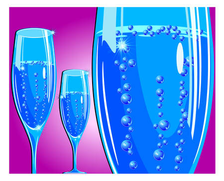 Vector holiday illustration with champagne glass on red background, celebration image Vector