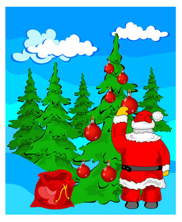 Christmas landscape with santa claus near fur-trees vector, illustration Vector
