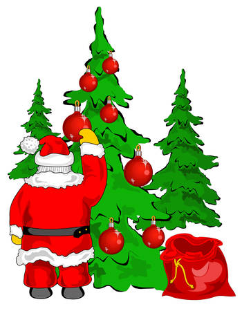 Christmas santa claus grandfather frost with empty sack near christmas fur-trees vector, illustration Vector