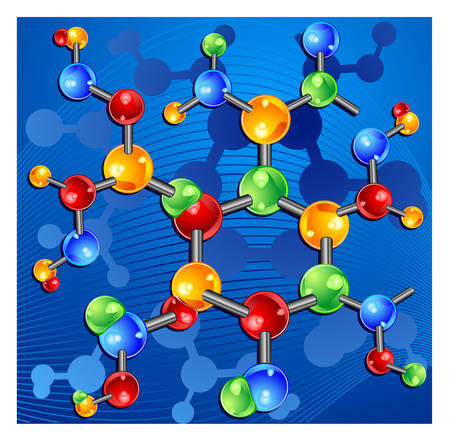 Molecule, genetic information isolated elements on blue background, vector illustration Illustration