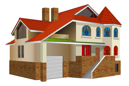 Country private residence, house with greater windows and red tile Illustration