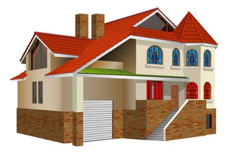 tile roof: Paese di residenza privata, la casa con le finestre e una maggiore rosso tegola