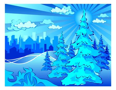 Winter park in city, landscape in blue, vector illustration Vector
