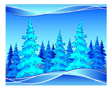 Beautiful winter forest landscape, background in blue, vector illustration Vector