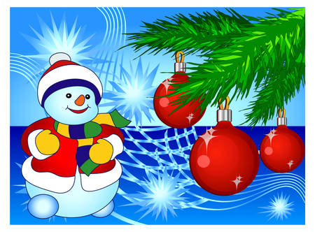 Smiling snowman and decorated pine-tree in blue background, vector illustration Vector