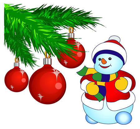 Smiling snowman and decorated pine-tree in white background, vector illustration Vector