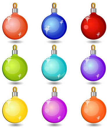 Christmas baubles, multicolor balls isolated on white, vector illustration Stock Vector - 4605616