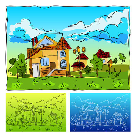 Landscape with the house childrens drawing animated, vector illustration Vector