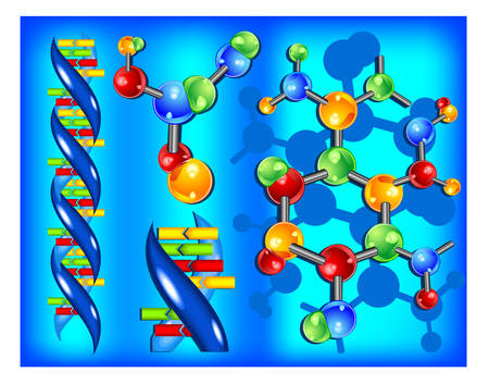 Molecule of DNA, genetic information isolated elements on blue background, vector illustration Stock Vector - 4605612