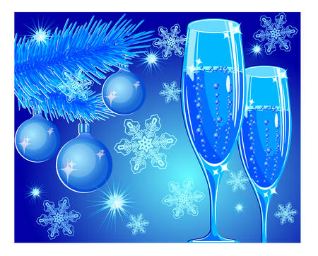 champagne toast: Vector New year illustration with champagne glass on blue background, celebration image Illustration