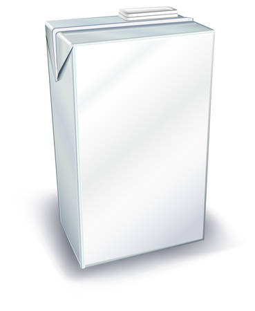 Leche o jugo de envase de cartón aisladas sobre fondo blanco, ilustración vectorial