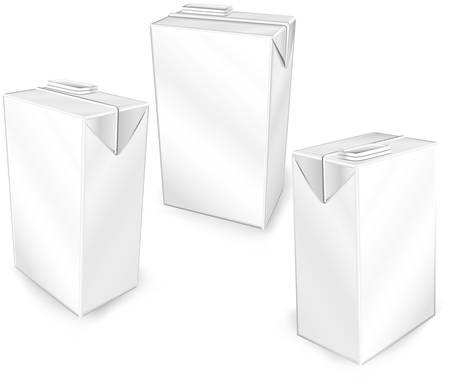 cereales: Los envases de cart�n de leche o jugo aislados en un fondo blanco, ilustraci�n vectorial