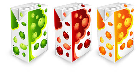 Juice carton packages with apple drawing on white background, vector illustration