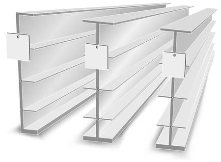 glass shelves: Empty shelves for the goods in shop, supermarket or library, store vector illustration