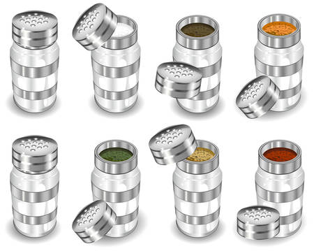 condimentos: Capacidades con las especias, la sal y el pimentero, ilustraci�n vectorial sobre fondo blanco