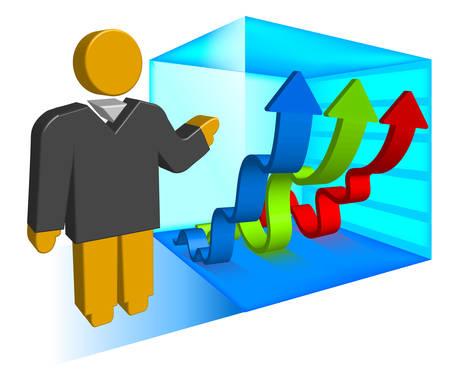 creeping: Empresario muestra calendario reptaci�n con flechas hacia arriba, ilustraci�n vectorial para la presentaci�n Vectores