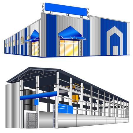 warehouse interior: Grande hangar isolato su uno sfondo bianco, illustrazione vettoriale Vettoriali