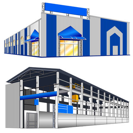 warehouse storage: Isolated big hangar on a white background, vector illustration