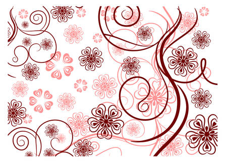 Beautiful pattern with bound lines and flowers on white background, illustration Illustration