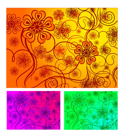 Three-colored floral background, element for design, vector illustration Vector