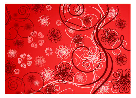 Beautiful pattern with bound lines and flowers in red, illustration Vector