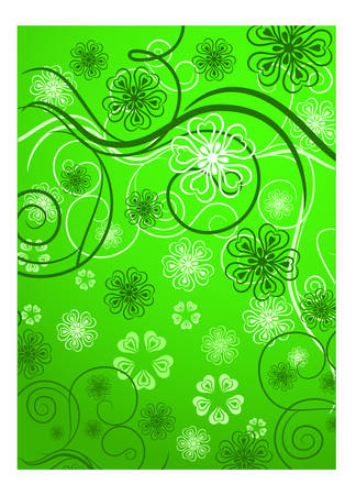 Beautiful pattern with bound lines and flowers in green, illustration Stock Vector - 4634605