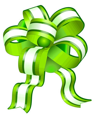Green bow on white background, gift tape the isolated object, vector illustration Vector