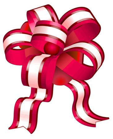 secret love: Arco rojo sobre fondo blanco, la cinta de regalo de objetos aislados, ilustraci�n vectorial