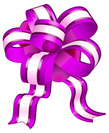 Violet bow on white background, gift tape the isolated object, vector illustration Vector