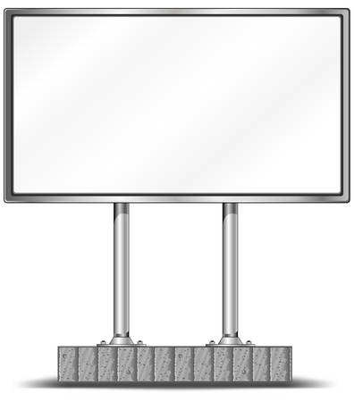 illustration for advertising: View of blank highway billboard for advertising, construction, illustration