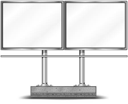 View of two blank highway billboard for advertising, construction, illustration Vector